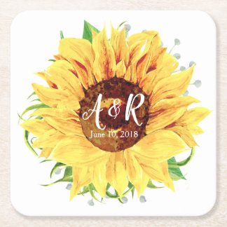 Yellow Sunflower Monogram Wedding Square Paper Coaster