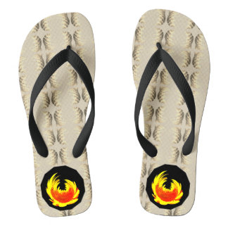 Yellow Sunflower Motif Flip Flops