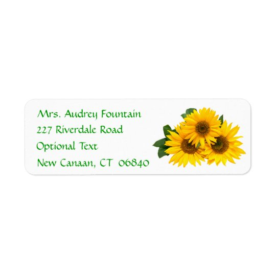 Yellow Sunflower Name Address Return Mailing Label
