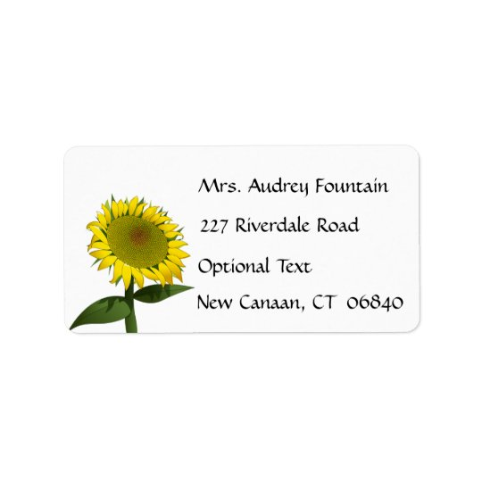 Yellow Sunflower Name Address Return Mailing Label
