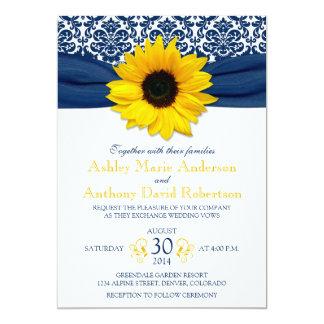 Yellow Sunflower Navy Blue Damask Ribbon Wedding Card