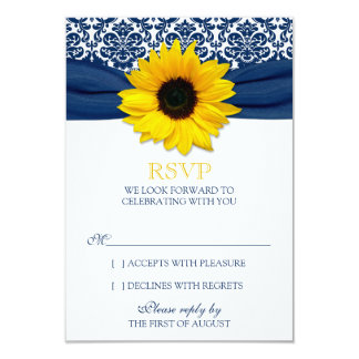 Yellow Sunflower Navy Damask Ribbon Wedding RSVP Personalized Announcement
