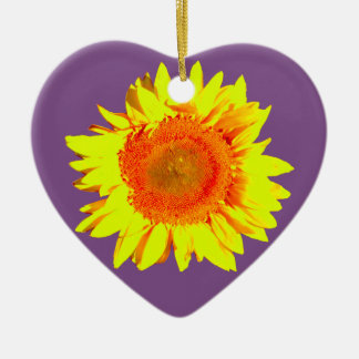 Yellow Sunflower on a Purple Christmas Ornament
