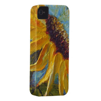 Yellow Sunflower on Blue Background iPhone 4 Case