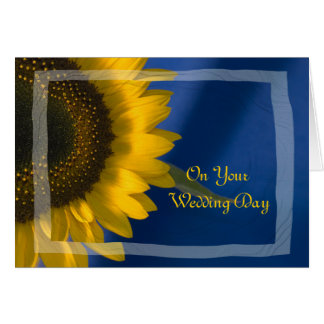 Yellow Sunflower on Blue Blended Family Wedding Card
