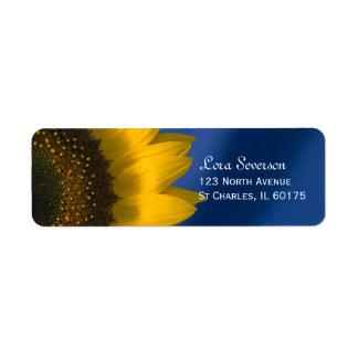 Yellow Sunflower on Blue Return Address