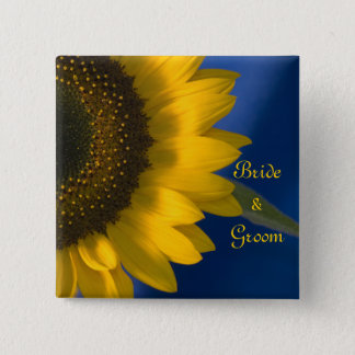 Yellow Sunflower on Blue Wedding 15 Cm Square Badge