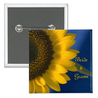 Yellow Sunflower on Blue Wedding 15 Cm Square Badge