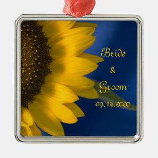 Yellow Sunflower on Blue Wedding Christmas Ornament