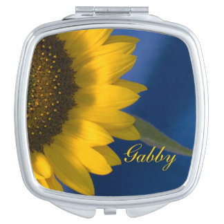 Yellow Sunflower on Blue Wedding Compact Mirror