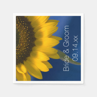 Yellow Sunflower on Blue Wedding Disposable Napkins