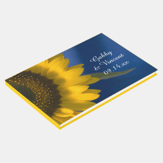 Yellow Sunflower on Blue Wedding Guest Book