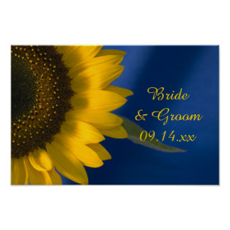 Yellow Sunflower on Blue Wedding Poster