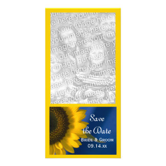Yellow Sunflower on Blue Wedding Save the Date Picture Card