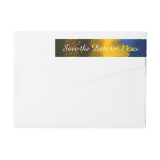 Yellow Sunflower on Blue Wedding Save the Date Wrap Around Label