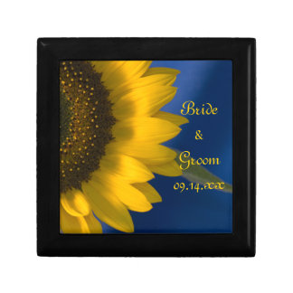 Yellow Sunflower on Blue Wedding Small Square Gift Box