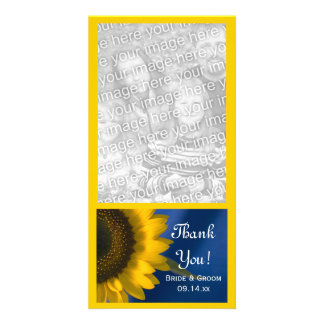 Yellow Sunflower on Blue Wedding Thank You Photo Card