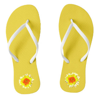 Yellow Sunflower on Flip Flops