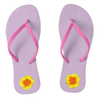 Yellow Sunflower on Lavender Flip Flops