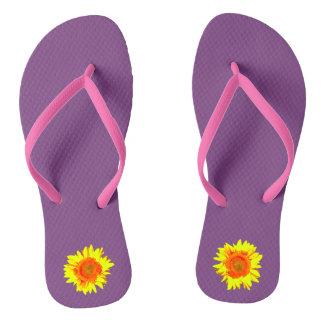 Yellow Sunflower on Middle Purple Flip Flops