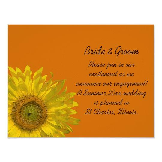 Yellow Sunflower on Orange Engagement Announcement