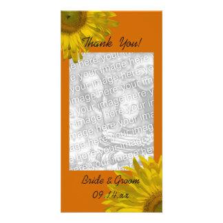 Yellow Sunflower on Orange Thank You Card
