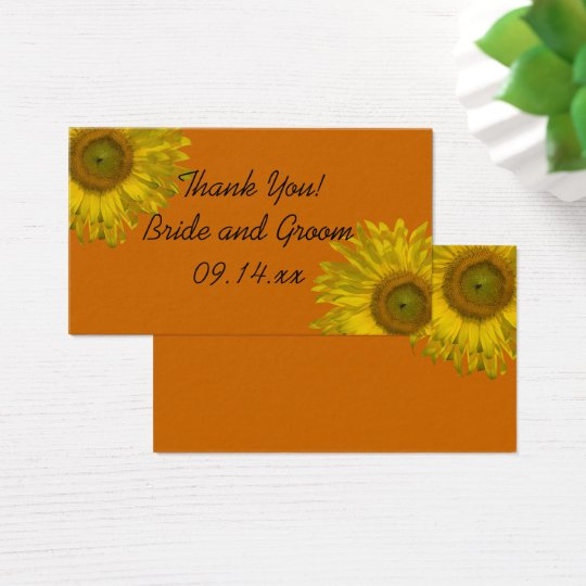 Yellow Sunflower on Orange Wedding Favour Tags