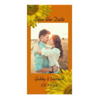 Yellow Sunflower on Orange Wedding Save the Date Photo Card