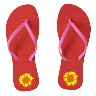 Yellow Sunflower on Red Flip Flops