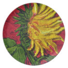 Yellow Sunflower on Red Plate
