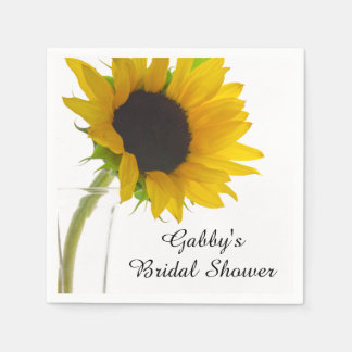 Yellow Sunflower on White Bridal Shower Napkins Paper Napkin