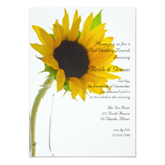 Yellow Sunflower on White Post Wedding Brunch 13 Cm X 18 Cm Invitation Card
