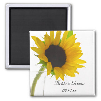 Yellow Sunflower on White Save the Date Wedding Magnet