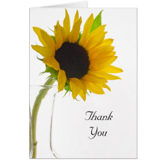 Yellow Sunflower on White Thank You Card