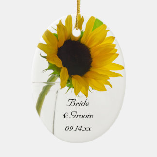 Yellow Sunflower on White Wedding Christmas Ornament