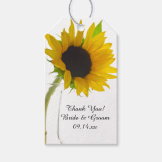 Yellow Sunflower on White Wedding Favor Tag