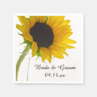 Yellow Sunflower on White Wedding Paper Napkin