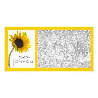 Yellow Sunflower on White Wedding Thank You Custom Photo Card