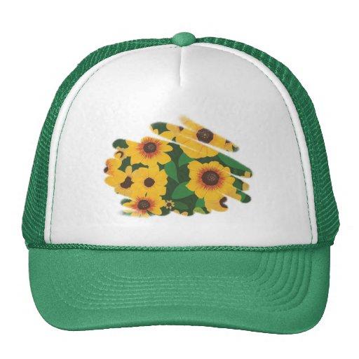 Yellow Sunflower Patch Brushstroke Style Hats