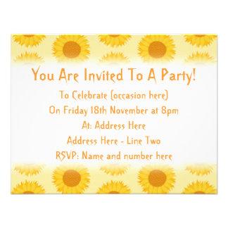 Yellow Sunflower Pattern Custom Invitations