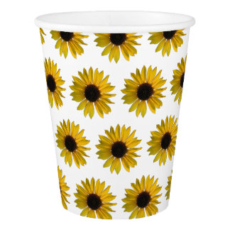 Yellow Sunflower Pattern Paper Cup