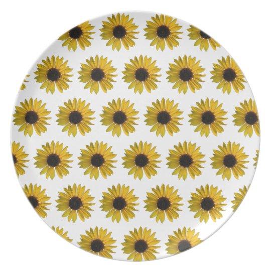 Yellow Sunflower Pattern Plate
