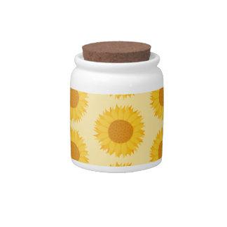 Yellow Sunflower Pattern Candy Jar