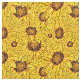 Yellow Sunflower Patterned Fabric