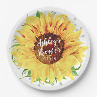 Yellow Sunflower Personalized Bridal Shower Paper Plate