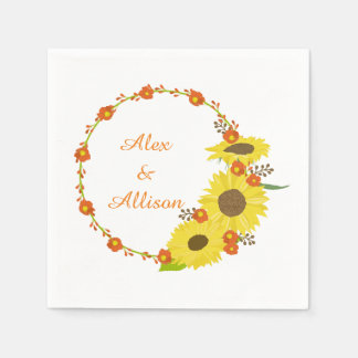 Yellow Sunflower personalized wedding wreath Disposable Napkins