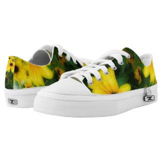 Yellow Sunflower Photo Low Tops Custom Shoes Printed Shoes