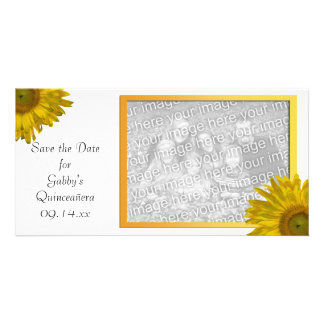 Yellow Sunflower Quinceanera Save the Date Photo Greeting Card