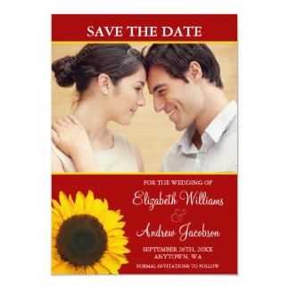 Yellow Sunflower Red Photo Save the Date Card