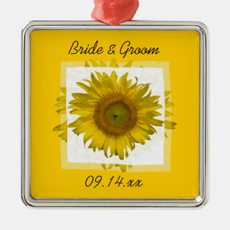 Yellow Sunflower Square Wedding Christmas Ornament